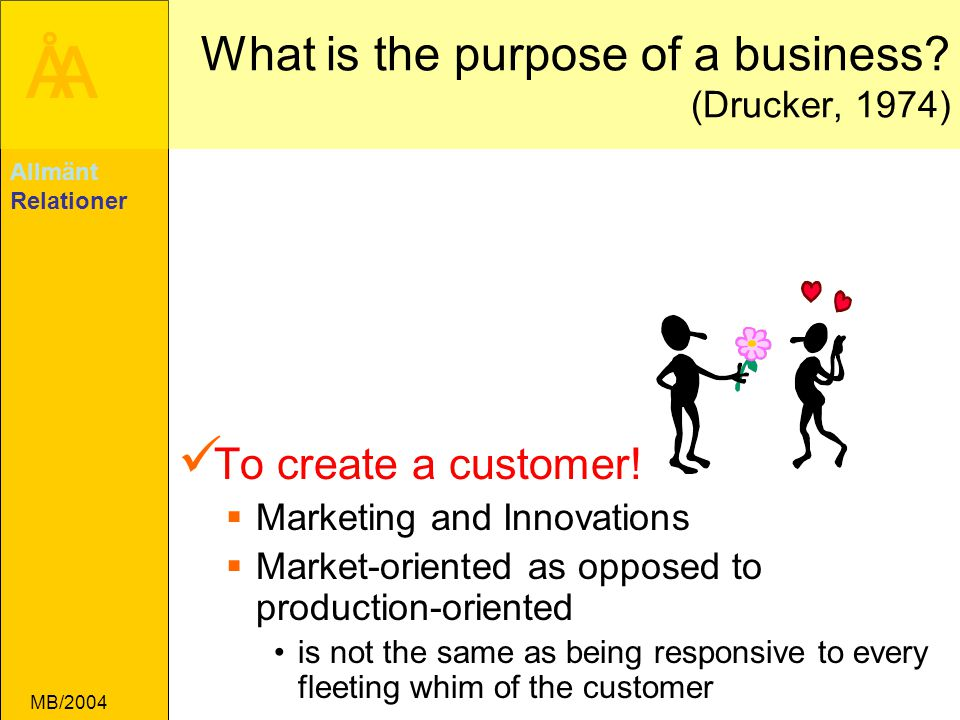 ÅA MB/2004 What is the purpose of a business? (Drucker, 1974) To create a customer!  Marketing and Innovations  Market-oriented as opposed to produc
