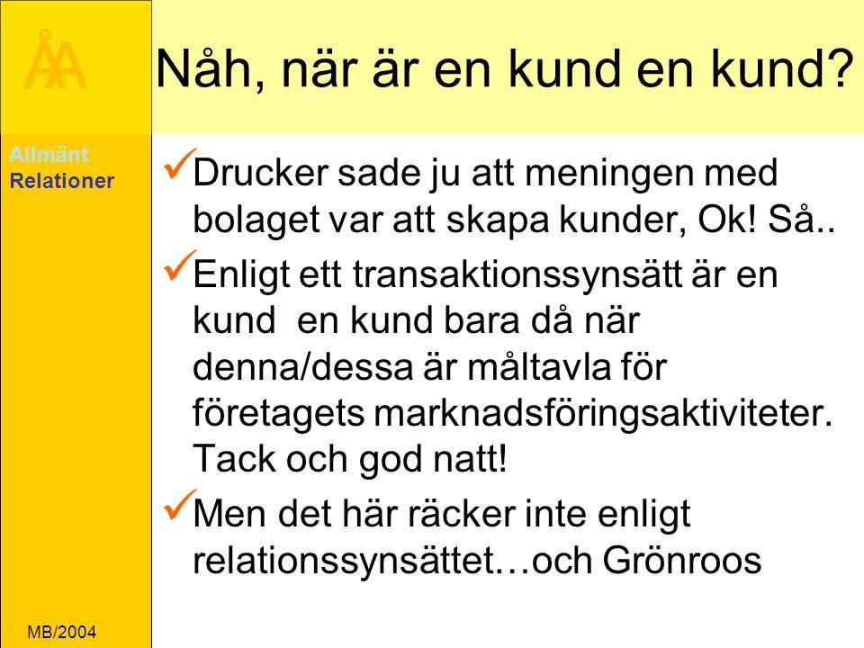 ÅA MB/2004 Nåh, när är en kund en kund.