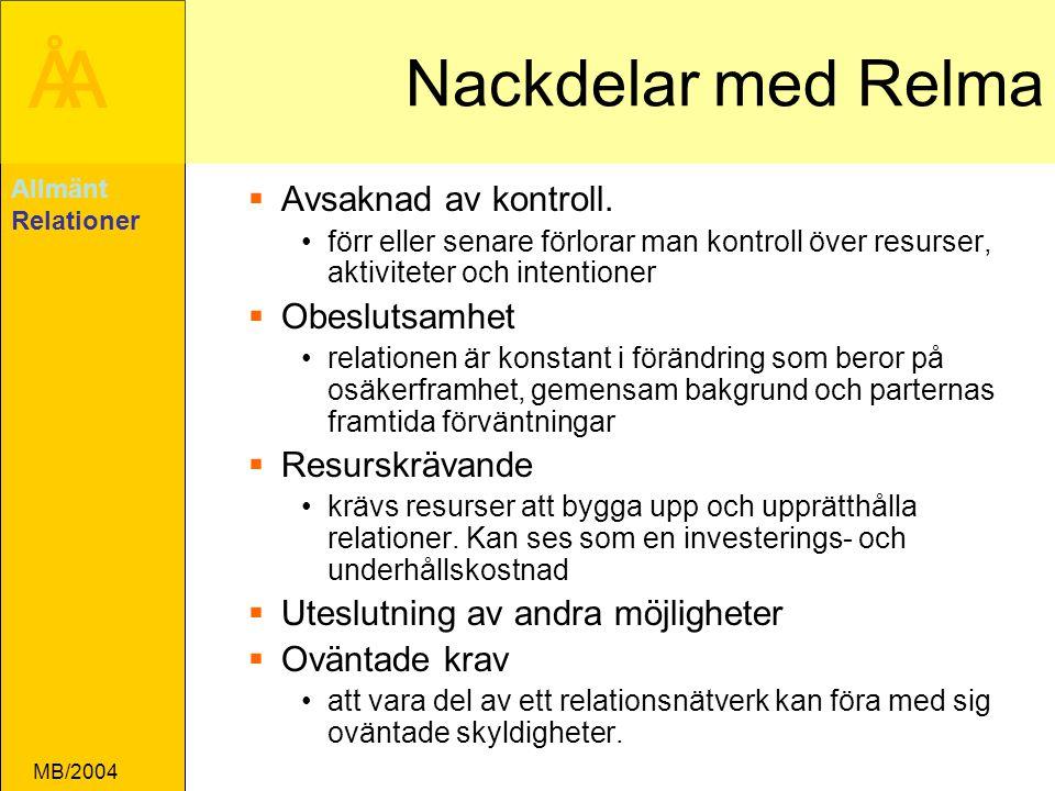 ÅA MB/2004 Nackdelar med Relma  Avsaknad av kontroll.