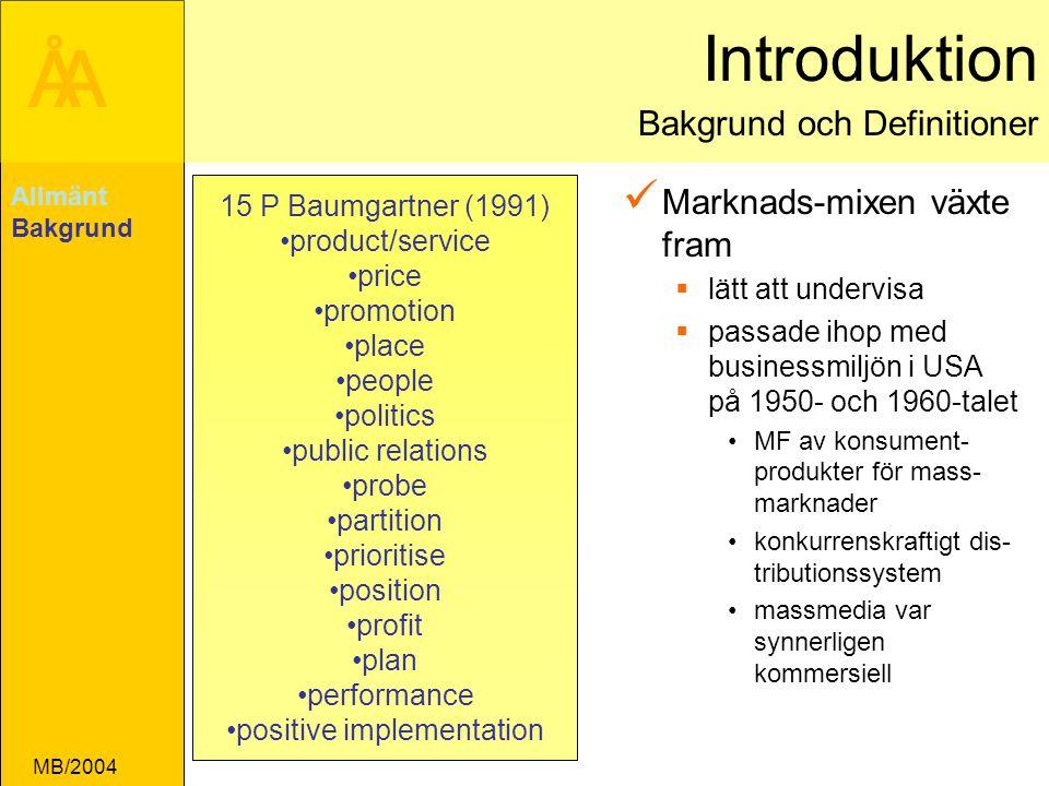 ÅA MB/2004 Skillnader mellan synsätt transaktions(utbytes)- och relationssynsättet Allmänt Bakgrund Synsätt Process Resultat (outcome) Värde distribution Värde skapande Transaktions- perspektivet Relations- perspektivet Relationer: samarbete för att skapa värde för kunder och leverantörer som grund för marknadsföring Utbyte: utbyte av värde i form av varor och tjänster mot pengar som grund för marknadsföring