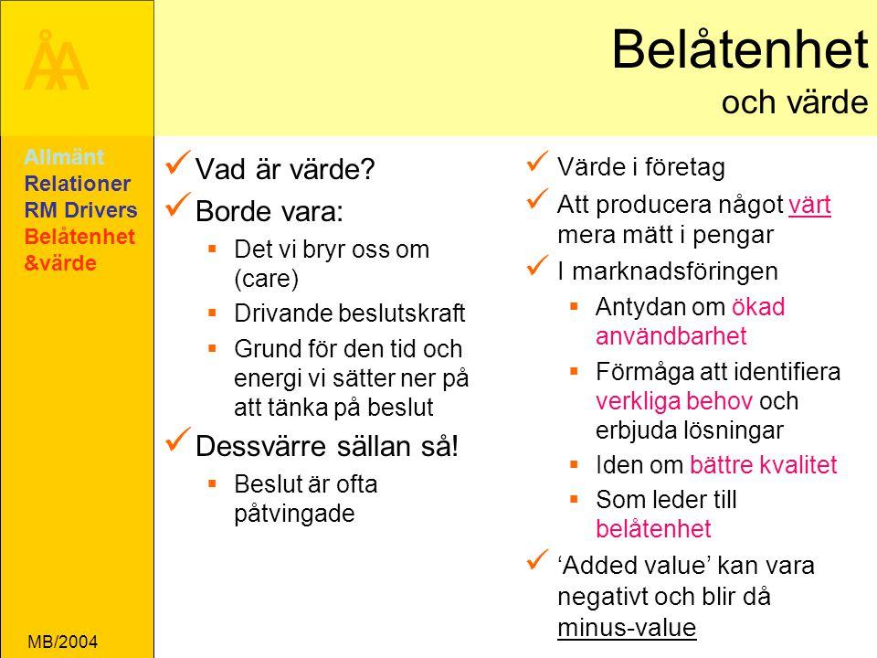 ÅA MB/2004 Belåtenhet och värde Vad är värde.