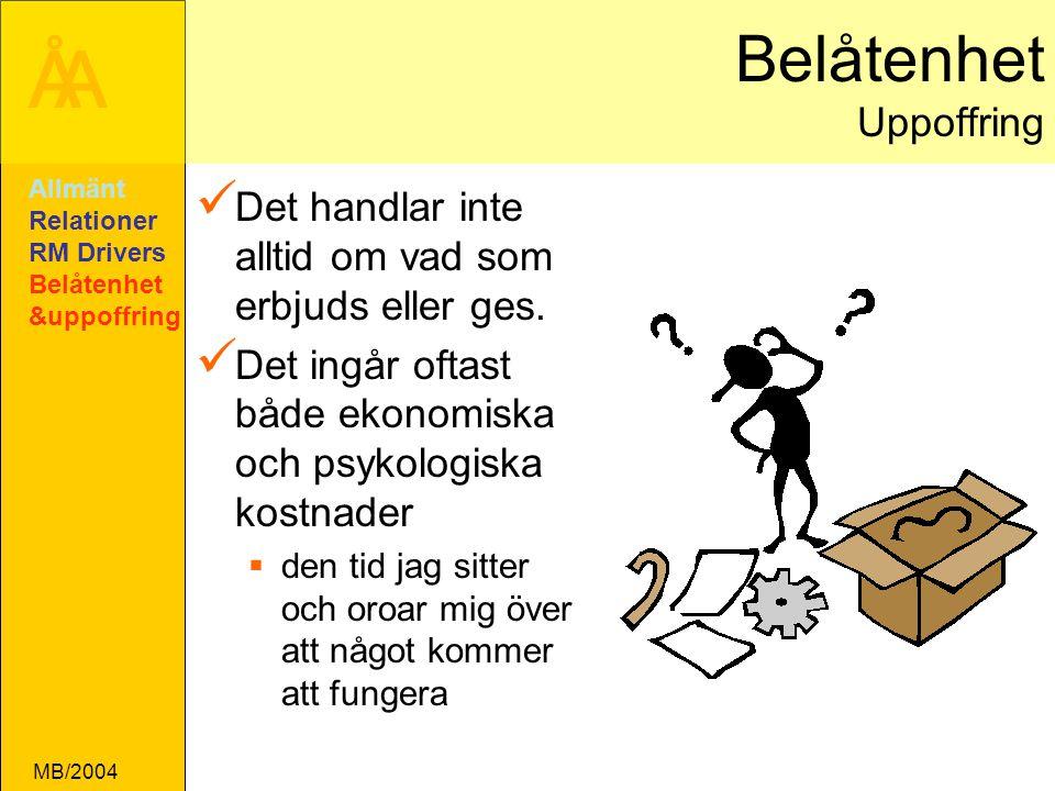 ÅA MB/2004 Belåtenhet Uppoffring Det handlar inte alltid om vad som erbjuds eller ges.