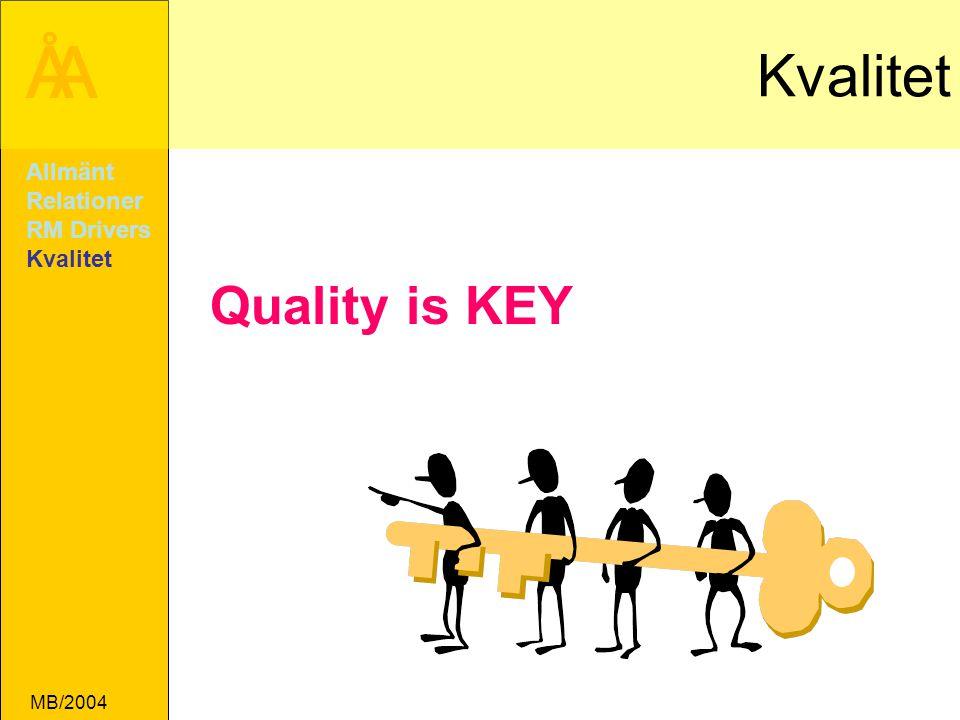 ÅA MB/2004 Kvalitet Quality is KEY Allmänt Relationer RM Drivers Kvalitet