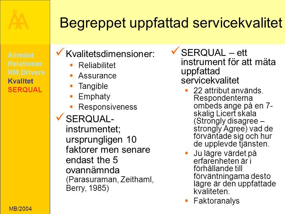 ÅA MB/2004 Begreppet uppfattad servicekvalitet SERQUAL – ett instrument för att mäta uppfattad servicekvalitet  22 attribut används.