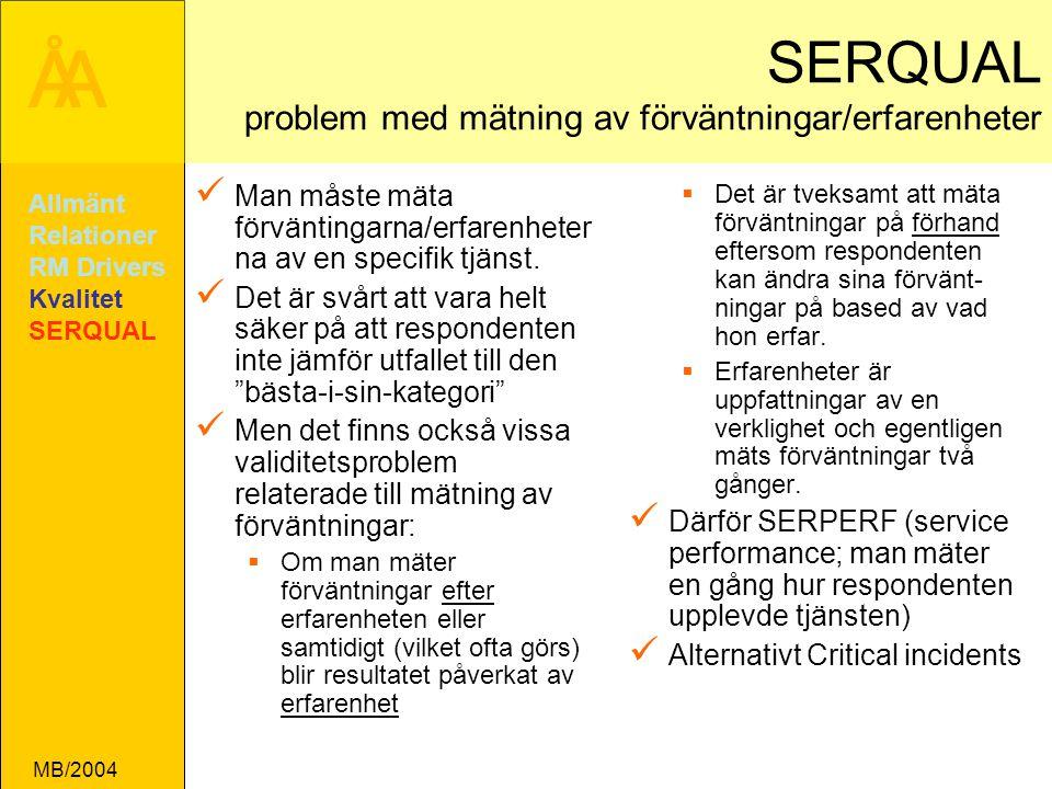 ÅA MB/2004 SERQUAL problem med mätning av förväntningar/erfarenheter Man måste mäta förväntingarna/erfarenheter na av en specifik tjänst.