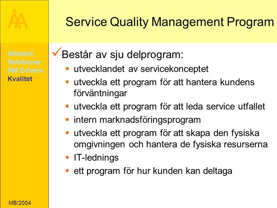ÅA MB/2004 Service Quality Management Program Består av sju delprogram:  utvecklandet av servicekonceptet  utveckla ett program för att hantera kundens förväntningar  utveckla ett program för att leda service utfallet  intern marknadsföringsprogram  utveckla ett program för att skapa den fysiska omgivningen och hantera de fysiska resurserna  IT-lednings  ett program för hur kunden kan deltaga Allmänt Relationer RM Drivers Kvalitet
