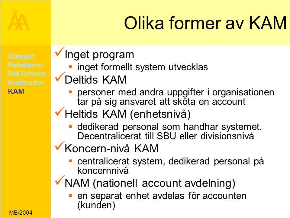 ÅA MB/2004 Olika former av KAM Inget program  inget formellt system utvecklas Deltids KAM  personer med andra uppgifter i organisationen tar på sig ansvaret att sköta en account Heltids KAM (enhetsnivå)  dedikerad personal som handhar systemet.