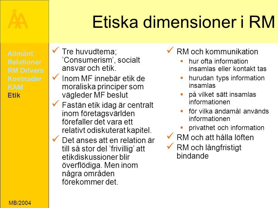 ÅA MB/2004 Etiska dimensioner i RM Tre huvudtema; 'Consumerism', socialt ansvar och etik.