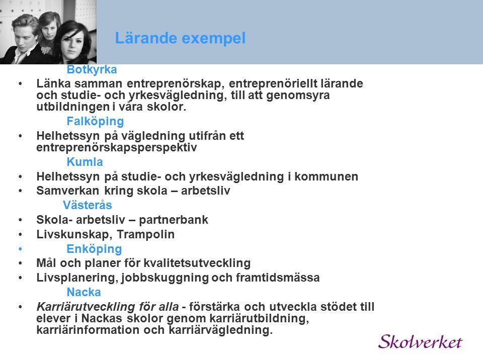 Lärande exempel Botkyrka Länka samman entreprenörskap, entreprenöriellt lärande och studie- och yrkesvägledning, till att genomsyra utbildningen i vår