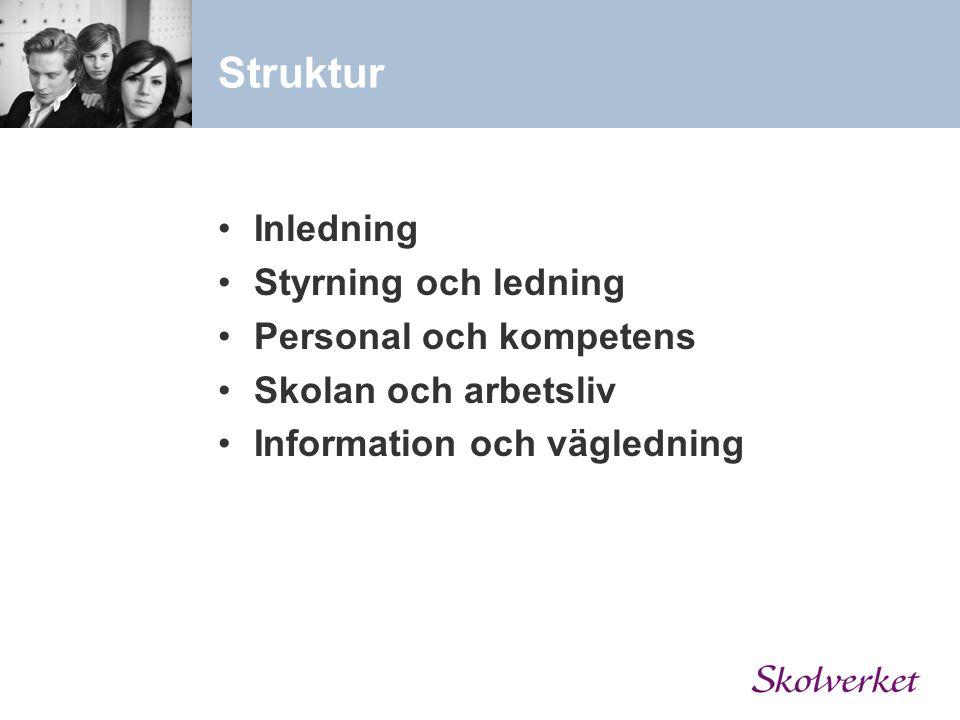 Struktur Inledning Styrning och ledning Personal och kompetens Skolan och arbetsliv Information och vägledning
