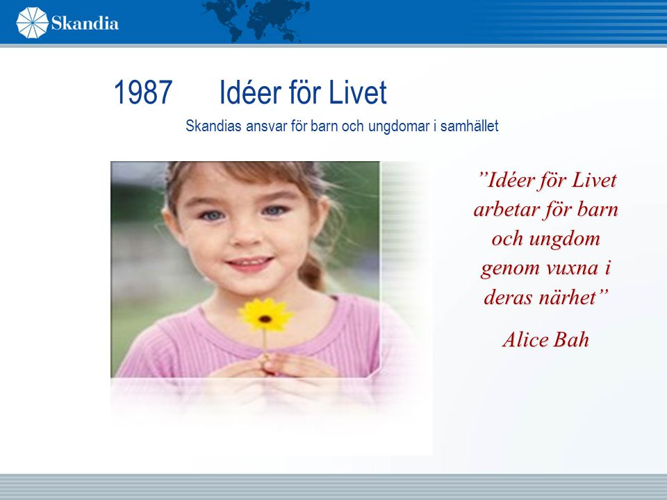 1987 Idéer för Livet Skandias ansvar för barn och ungdomar i samhället Idéer för Livet arbetar för barn och ungdom genom vuxna i deras närhet Alice Bah Idéer för Livet arbetar för barn och ungdom genom vuxna i deras närhet Alice Bah