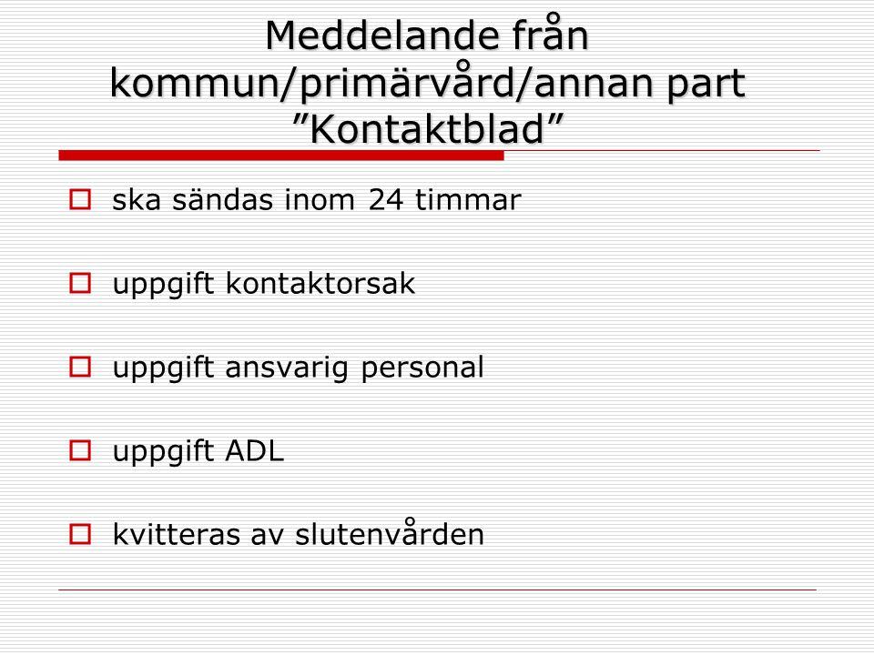 """Meddelande från kommun/primärvård/annan part """"Kontaktblad""""  ska sändas inom 24 timmar  uppgift kontaktorsak  uppgift ansvarig personal  uppgift AD"""