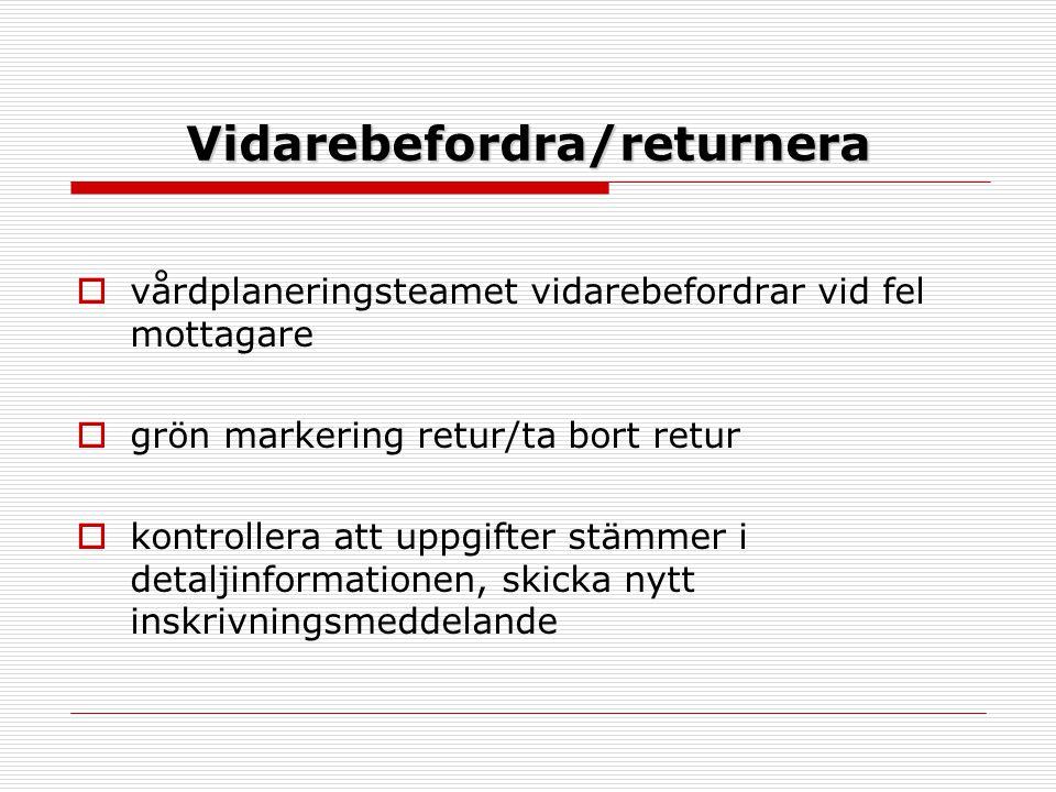 Vidarebefordra/returnera  vårdplaneringsteamet vidarebefordrar vid fel mottagare  grön markering retur/ta bort retur  kontrollera att uppgifter stämmer i detaljinformationen, skicka nytt inskrivningsmeddelande