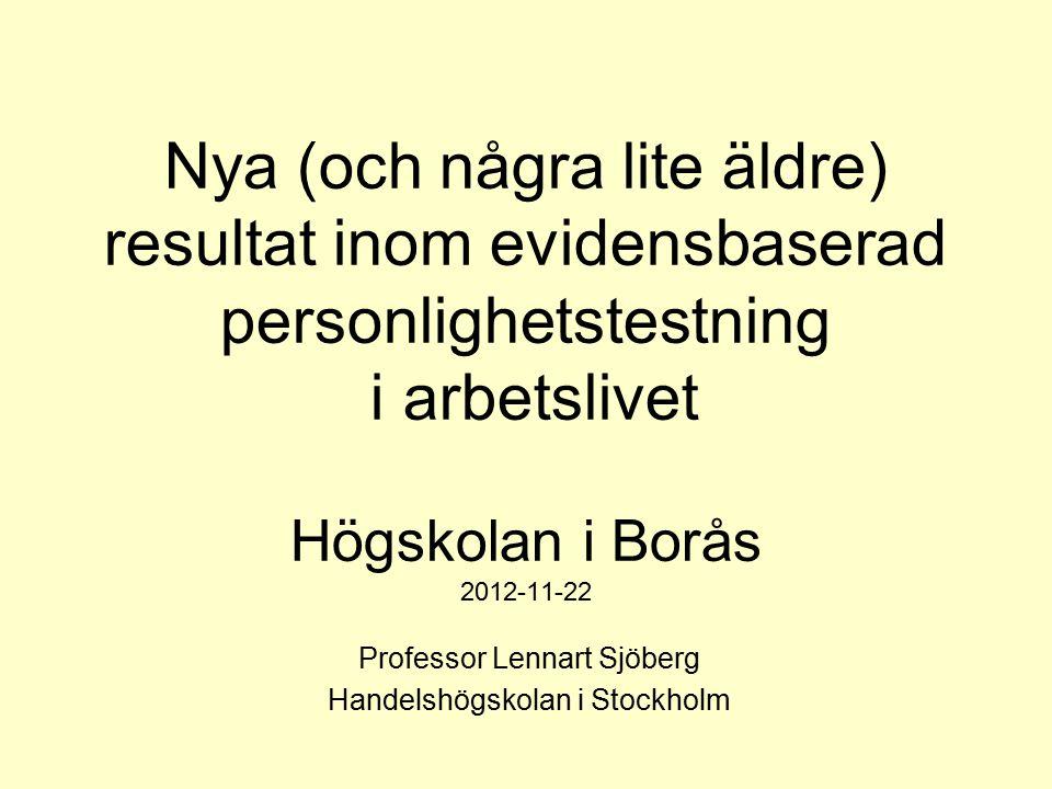 Lennart Sjöberg Handelshögskolan i Stockholm 32 Kliniskt begrepp (DSM-IV) Innehåll Korrelation i genomsnitt BorderlineLynnig och socialt inkonsistent -0.03 ParanoidSkeptisk, misstänksam -0.18 AvoidantNegativ till förändringar 0.08 SchizoidTillbakadragen, förstår ej andra -0.03 Passive-aggressiveSjälvgående, ignorerar andras krav -0.04 NarcissisticHar extrem självuppskattning, tål ej kritik 0.06 AntisocialTycker om att ta risker och testa gränser -0.08 HistrionicDramatisk, vill bli uppmärksammad 0.06 SchizotypalVisar ovanligt tänkande, ibland kreativ -0.23 Obsessive-compulsiveMycket noggrann och kritisk 0.16 DependentVill vara till lags, beroende av andras uppskattning 0.16