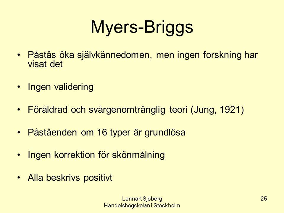 Lennart Sjöberg Handelshögskolan i Stockholm 25 Myers-Briggs Påstås öka självkännedomen, men ingen forskning har visat det Ingen validering Föråldrad