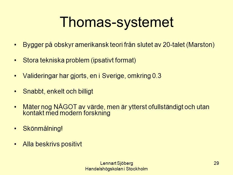 Lennart Sjöberg Handelshögskolan i Stockholm 29 Thomas-systemet Bygger på obskyr amerikansk teori från slutet av 20-talet (Marston) Stora tekniska pro