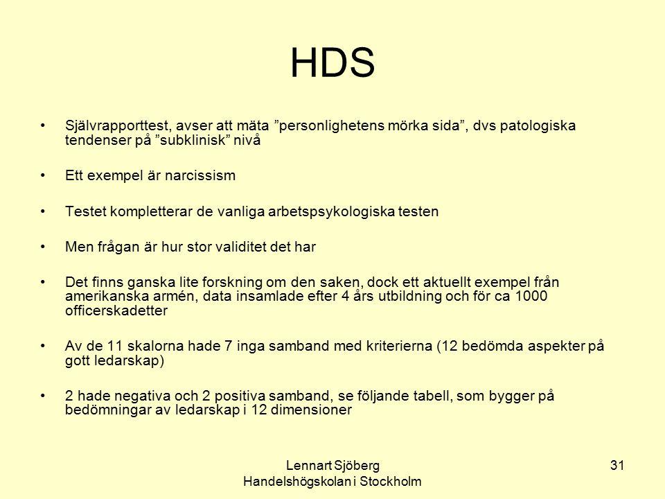 """Lennart Sjöberg Handelshögskolan i Stockholm 31 HDS Självrapporttest, avser att mäta """"personlighetens mörka sida"""", dvs patologiska tendenser på """"subkl"""