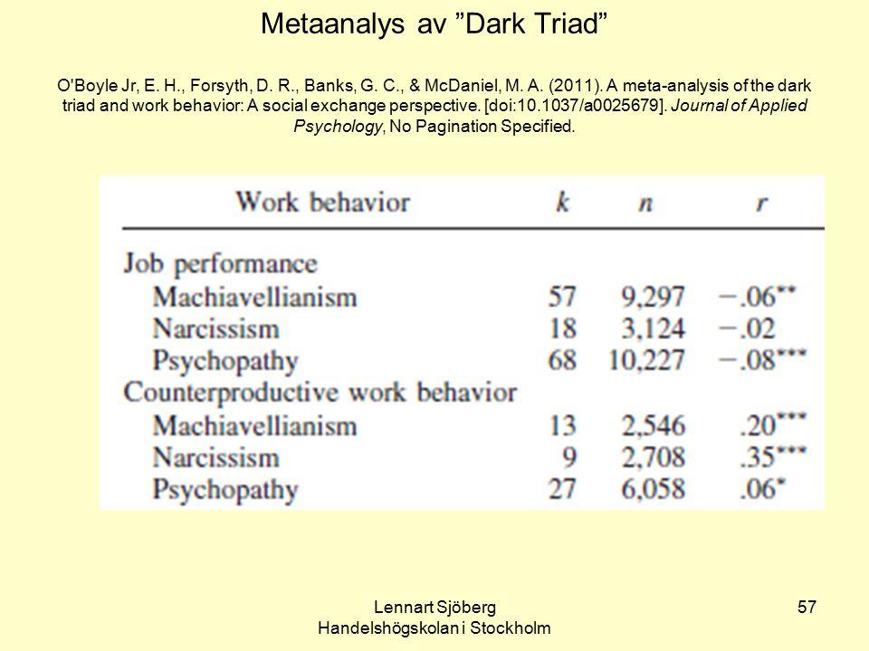 "Lennart Sjöberg Handelshögskolan i Stockholm 57 Metaanalys av ""Dark Triad"" O'Boyle Jr, E. H., Forsyth, D. R., Banks, G. C., & McDaniel, M. A. (2011)."