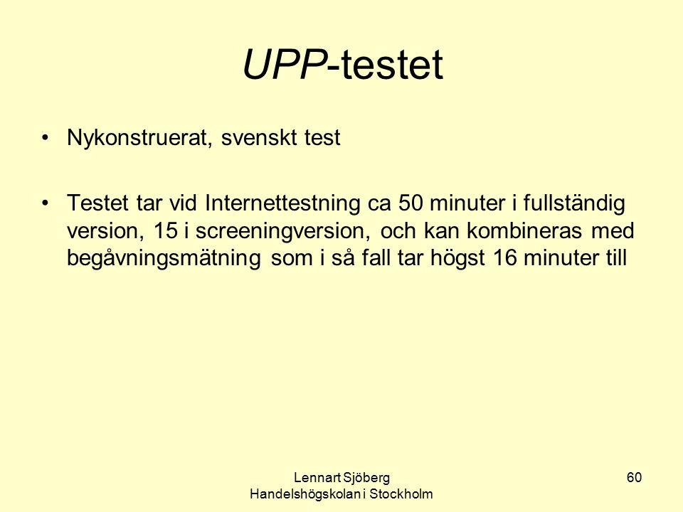 Lennart Sjöberg Handelshögskolan i Stockholm 60 UPP-testet Nykonstruerat, svenskt test Testet tar vid Internettestning ca 50 minuter i fullständig ver