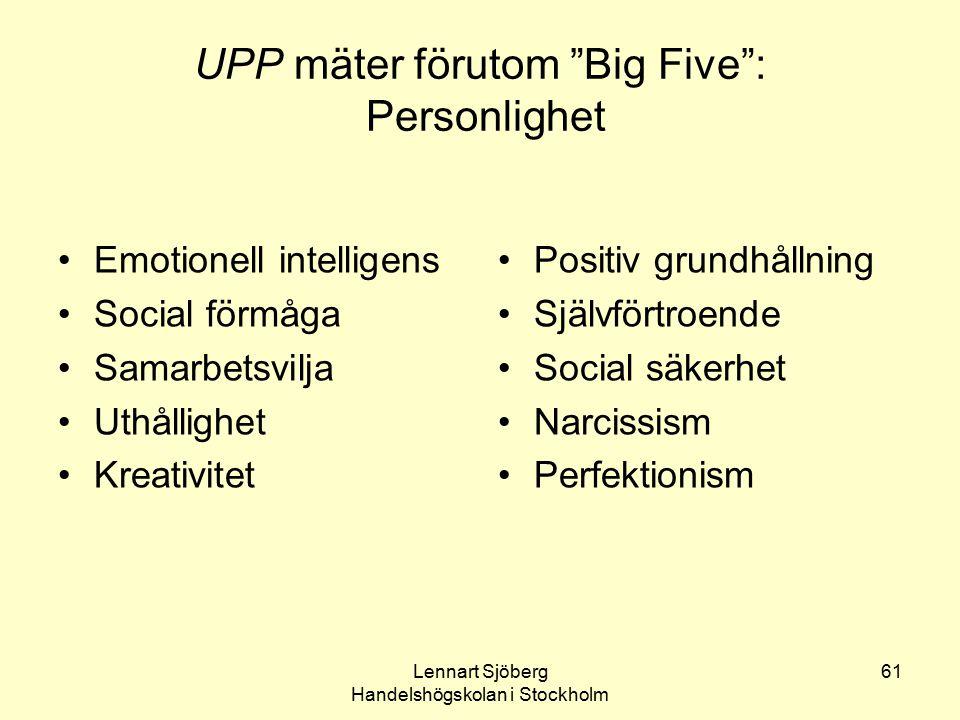 """Lennart Sjöberg Handelshögskolan i Stockholm 61 UPP mäter förutom """"Big Five"""": Personlighet Emotionell intelligens Social förmåga Samarbetsvilja Uthåll"""