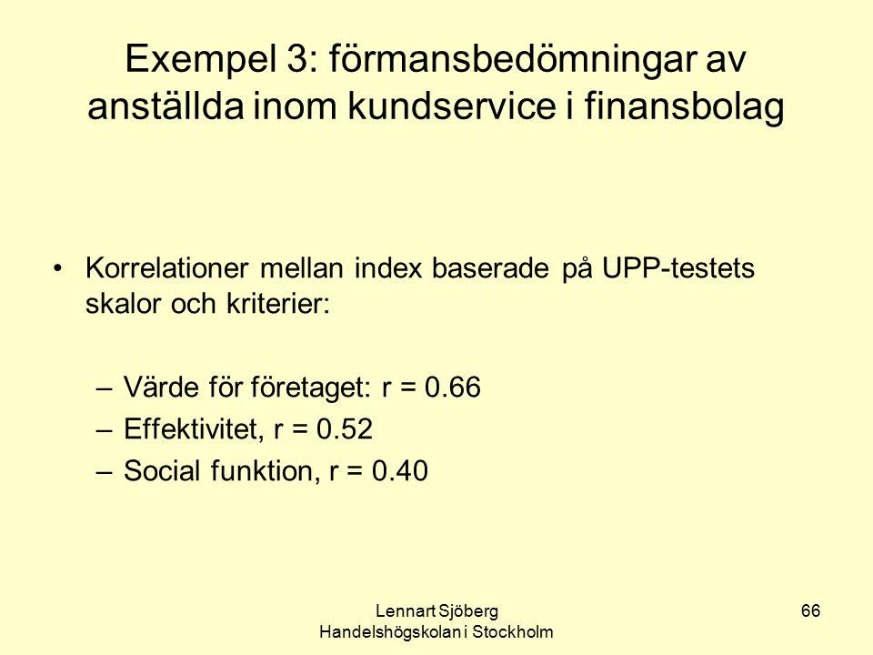Lennart Sjöberg Handelshögskolan i Stockholm 66 Exempel 3: förmansbedömningar av anställda inom kundservice i finansbolag Korrelationer mellan index b