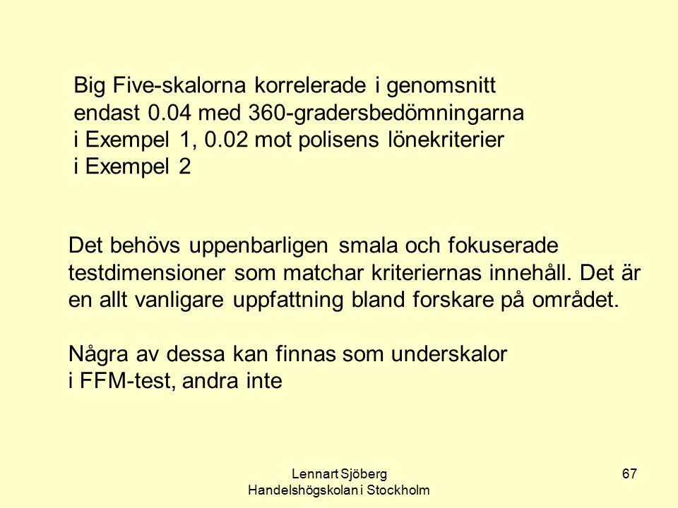 Lennart Sjöberg Handelshögskolan i Stockholm 67 Big Five-skalorna korrelerade i genomsnitt endast 0.04 med 360-gradersbedömningarna i Exempel 1, 0.02