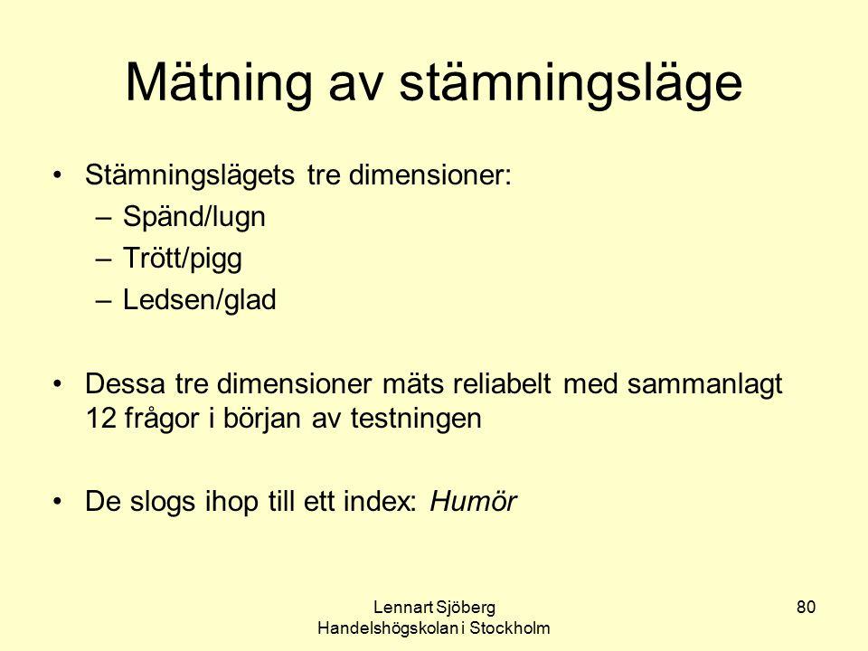 Lennart Sjöberg Handelshögskolan i Stockholm 80 Mätning av stämningsläge Stämningslägets tre dimensioner: –Spänd/lugn –Trött/pigg –Ledsen/glad Dessa t