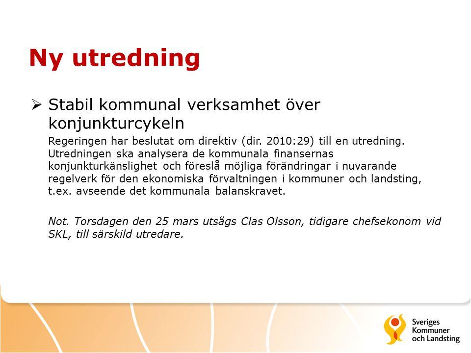 Ny utredning  Stabil kommunal verksamhet över konjunkturcykeln Regeringen har beslutat om direktiv (dir.