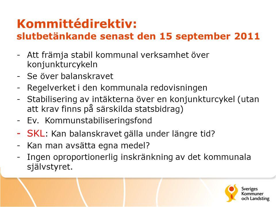 Kommittédirektiv: slutbetänkande senast den 15 september 2011 -Att främja stabil kommunal verksamhet över konjunkturcykeln -Se över balanskravet -Regelverket i den kommunala redovisningen -Stabilisering av intäkterna över en konjunkturcykel (utan att krav finns på särskilda statsbidrag) -Ev.