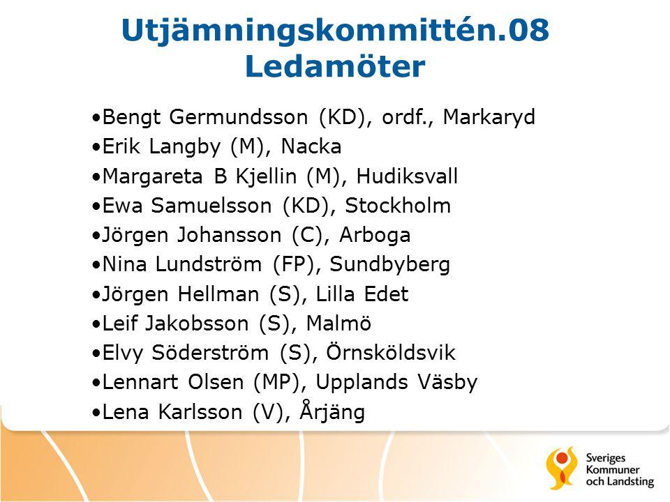 Utjämningskommittén.08 Ledamöter Bengt Germundsson (KD), ordf., Markaryd Erik Langby (M), Nacka Margareta B Kjellin (M), Hudiksvall Ewa Samuelsson (KD), Stockholm Jörgen Johansson (C), Arboga Nina Lundström (FP), Sundbyberg Jörgen Hellman (S), Lilla Edet Leif Jakobsson (S), Malmö Elvy Söderström (S), Örnsköldsvik Lennart Olsen (MP), Upplands Väsby Lena Karlsson (V), Årjäng