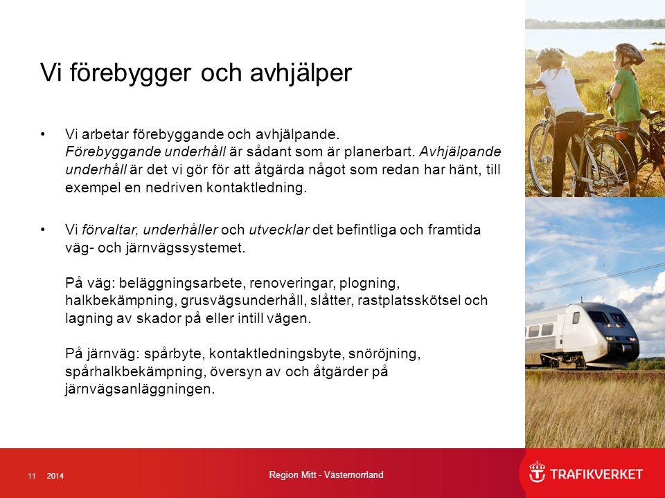 112014 Region Mitt - Västernorrland Vi förebygger och avhjälper Vi arbetar förebyggande och avhjälpande.