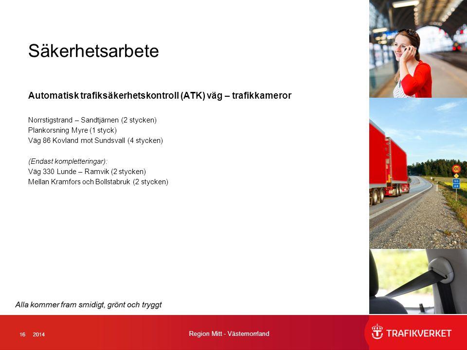 162014 Region Mitt - Västernorrland Säkerhetsarbete Automatisk trafiksäkerhetskontroll (ATK) väg – trafikkameror Norrstigstrand – Sandtjärnen (2 stycken) Plankorsning Myre (1 styck) Väg 86 Kovland mot Sundsvall (4 stycken) (Endast kompletteringar): Väg 330 Lunde – Ramvik (2 stycken) Mellan Kramfors och Bollstabruk (2 stycken)