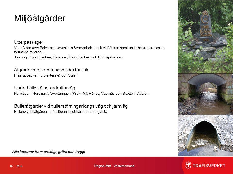 182014 Region Mitt - Västernorrland Miljöåtgärder Utterpassager Väg: Broar över Bölesjön sydväst om Svarvarböle, bäck vid Viskan samt underhåll/reparation av befintliga åtgärder.