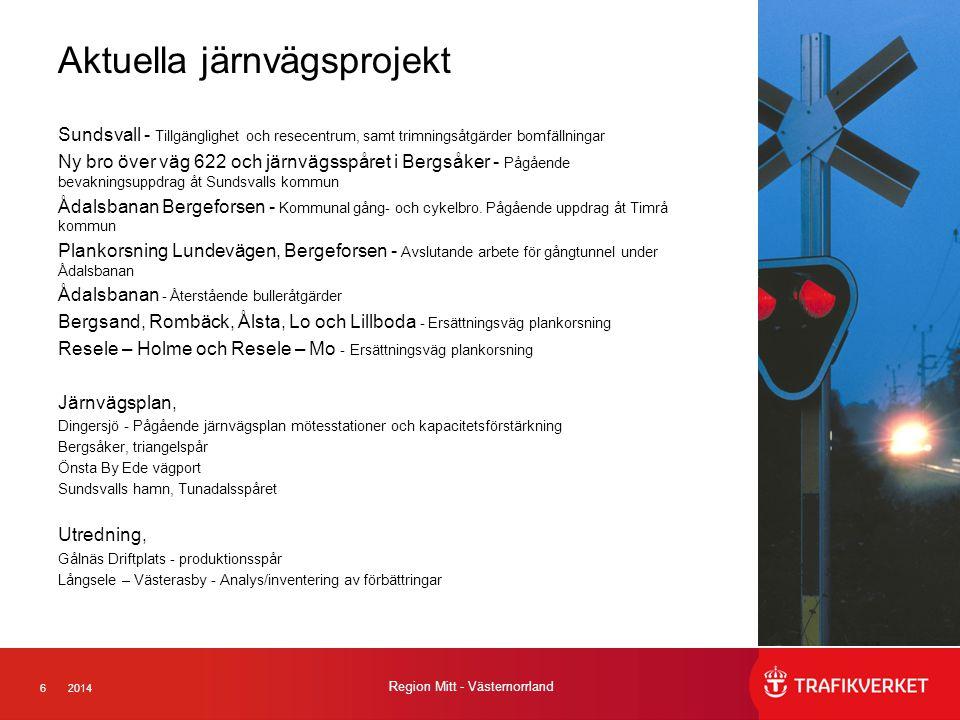 62014 Region Mitt - Västernorrland Aktuella järnvägsprojekt Sundsvall - Tillgänglighet och resecentrum, samt trimningsåtgärder bomfällningar Ny bro över väg 622 och järnvägsspåret i Bergsåker - Pågående bevakningsuppdrag åt Sundsvalls kommun Ådalsbanan Bergeforsen - Kommunal gång- och cykelbro.