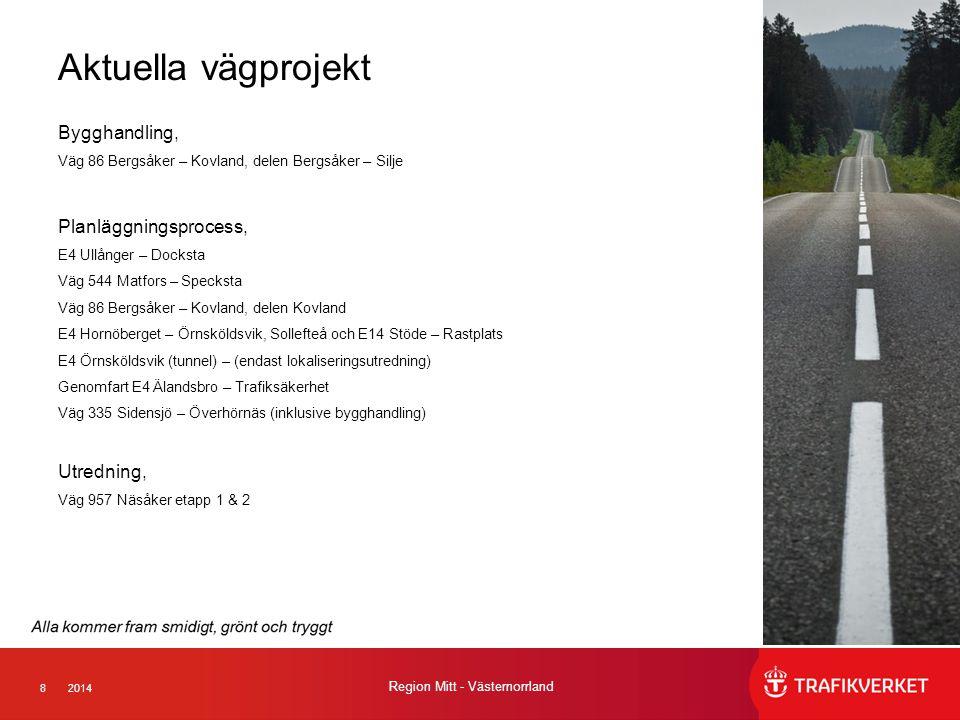 82014 Region Mitt - Västernorrland Aktuella vägprojekt Bygghandling, Väg 86 Bergsåker – Kovland, delen Bergsåker – Silje Planläggningsprocess, E4 Ullånger – Docksta Väg 544 Matfors – Specksta Väg 86 Bergsåker – Kovland, delen Kovland E4 Hornöberget – Örnsköldsvik, Sollefteå och E14 Stöde – Rastplats E4 Örnsköldsvik (tunnel) – (endast lokaliseringsutredning) Genomfart E4 Älandsbro – Trafiksäkerhet Väg 335 Sidensjö – Överhörnäs (inklusive bygghandling) Utredning, Väg 957 Näsåker etapp 1 & 2