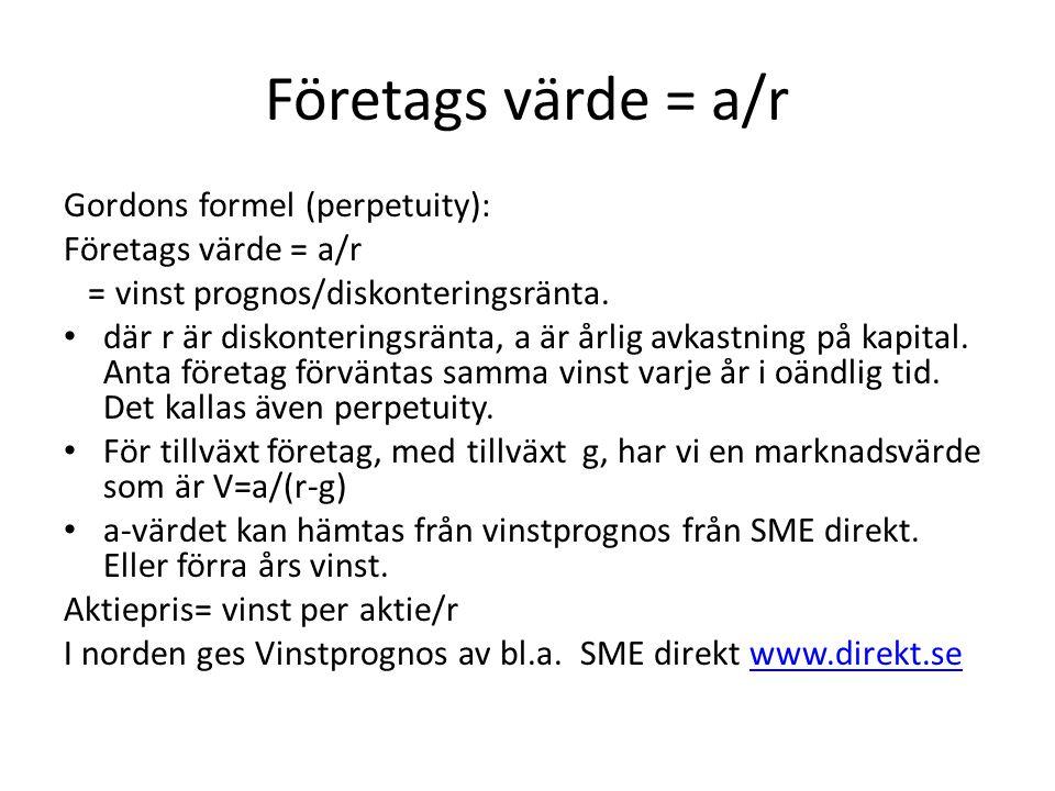 Företags värde = a/r Gordons formel (perpetuity): Företags värde = a/r = vinst prognos/diskonteringsränta. där r är diskonteringsränta, a är årlig avk