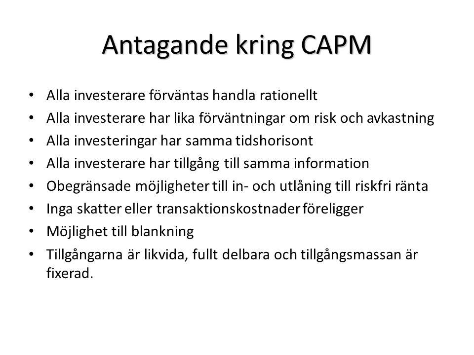 Antagande kring CAPM Alla investerare förväntas handla rationellt Alla investerare har lika förväntningar om risk och avkastning Alla investeringar ha