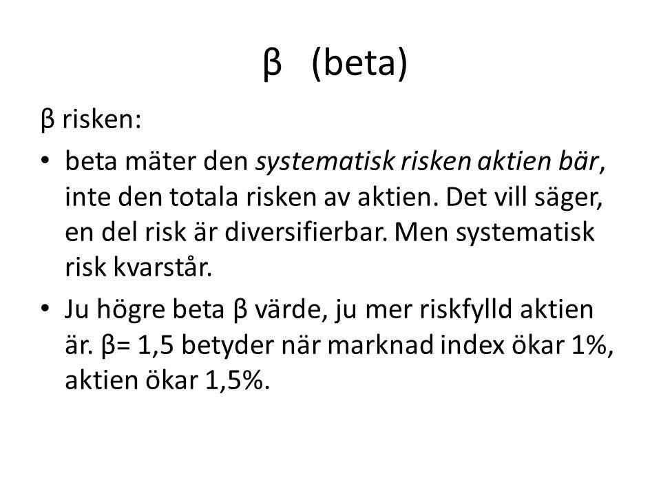 β (beta) β risken: beta mäter den systematisk risken aktien bär, inte den totala risken av aktien. Det vill säger, en del risk är diversifierbar. Men