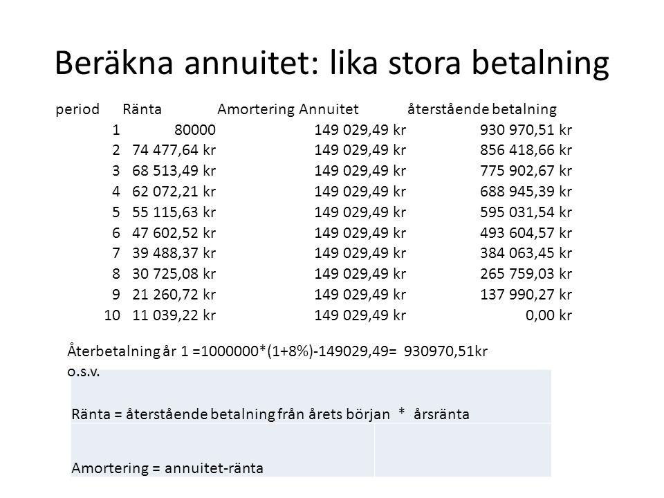 Beräkna annuitet: lika stora betalning Ränta = återstående betalning från årets början * årsränta Amortering = annuitet-ränta periodRäntaAmorteringAnn