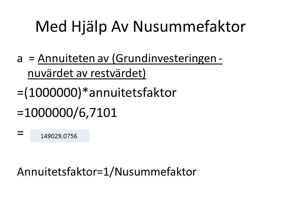 Med Hjälp Av Nusummefaktor a = Annuiteten av (Grundinvesteringen - nuvärdet av restvärdet) =(1000000)*annuitetsfaktor =1000000/6,7101 = Annuitetsfakto