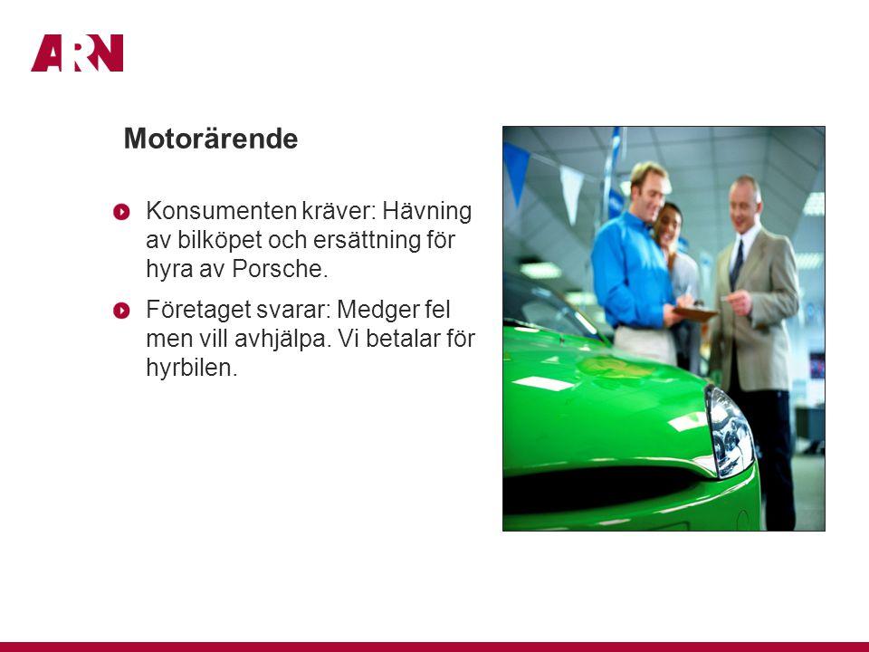 Motorärende Konsumenten kräver: Hävning av bilköpet och ersättning för hyra av Porsche. Företaget svarar: Medger fel men vill avhjälpa. Vi betalar för