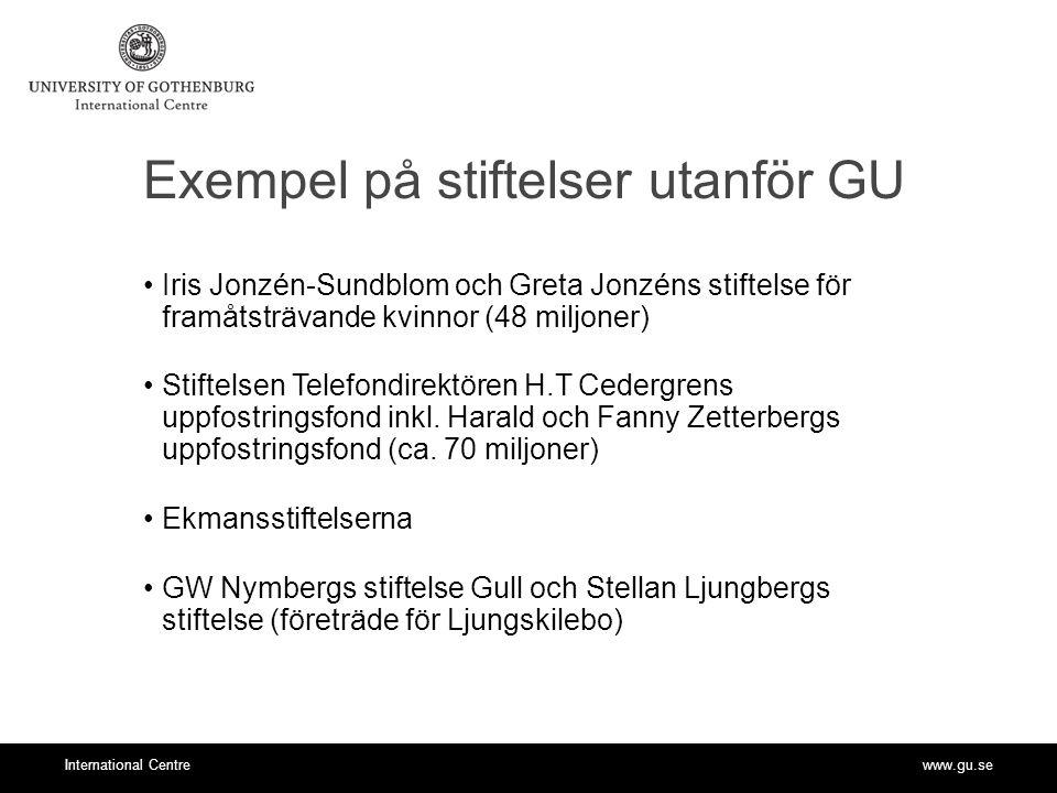 www.gu.seInternational Centre Exempel på stiftelser utanför GU Iris Jonzén-Sundblom och Greta Jonzéns stiftelse för framåtsträvande kvinnor (48 miljoner) Stiftelsen Telefondirektören H.T Cedergrens uppfostringsfond inkl.