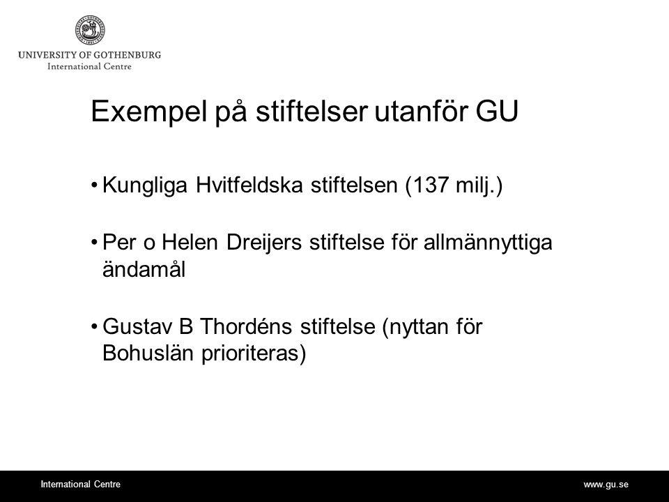 www.gu.seInternational Centre Exempel på stiftelser utanför GU Kungliga Hvitfeldska stiftelsen (137 milj.) Per o Helen Dreijers stiftelse för allmännyttiga ändamål Gustav B Thordéns stiftelse (nyttan för Bohuslän prioriteras)