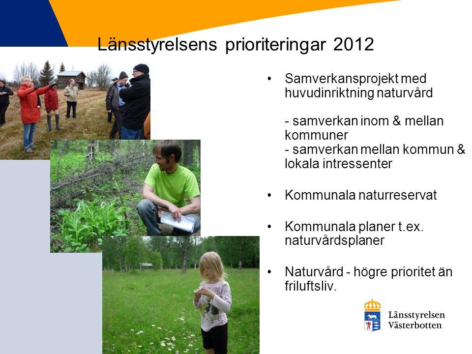 Länsstyrelsens prioriteringar 2012 Samverkansprojekt med huvudinriktning naturvård - samverkan inom & mellan kommuner - samverkan mellan kommun & loka