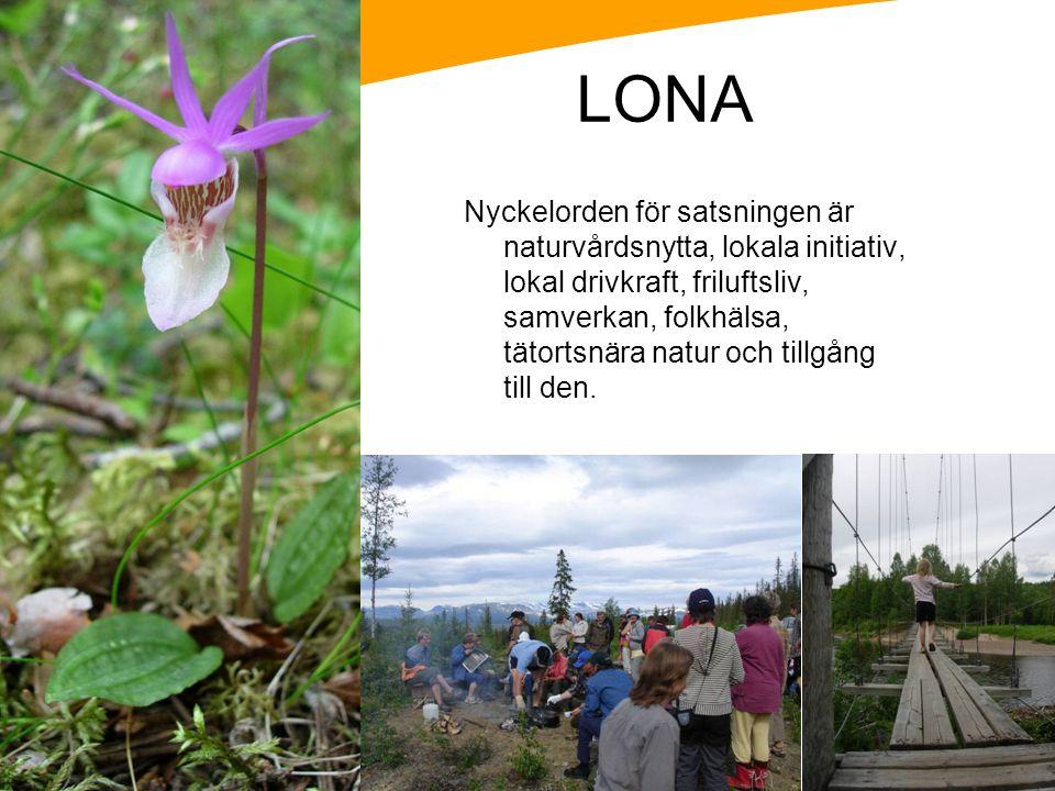 LONA Nyckelorden för satsningen är naturvårdsnytta, lokala initiativ, lokal drivkraft, friluftsliv, samverkan, folkhälsa, tätortsnära natur och tillgå