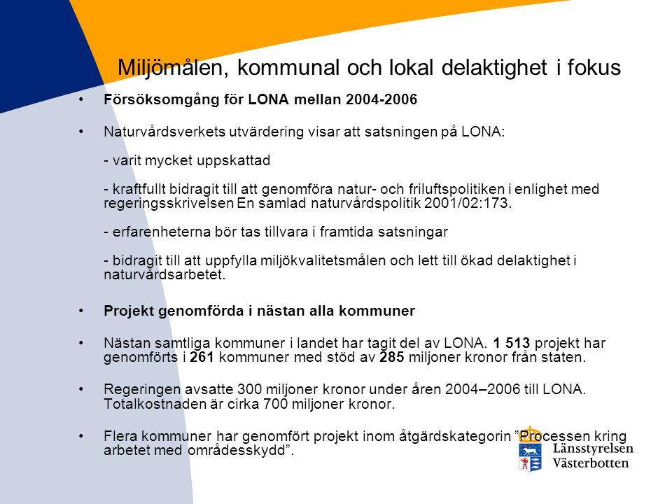 Naturvårdsverkets utvärdering Satsningen har bidragit till att skapa lokal politisk förankring och brett deltagande i naturvården samt bidragit till att uppfylla miljökvalitetsmålen Naturvårdsverkets skrivelse till Miljödepartementet (pdf 814 kB) LONA:s bidrag till måluppfyllelse för miljökvalitetsmålen (pdf 633 kB) Effekter av delaktighet i lokala naturvårdsprojekt (LONA) (pdf 1 MB) Lärande i lokala naturvårdsprojekt (LONA) Erfarenheter av lokala naturvårdsbidrag (LONA) i processperspektiv Kommunalt naturskydd i lokala naturvårdssatsningen (LONA)