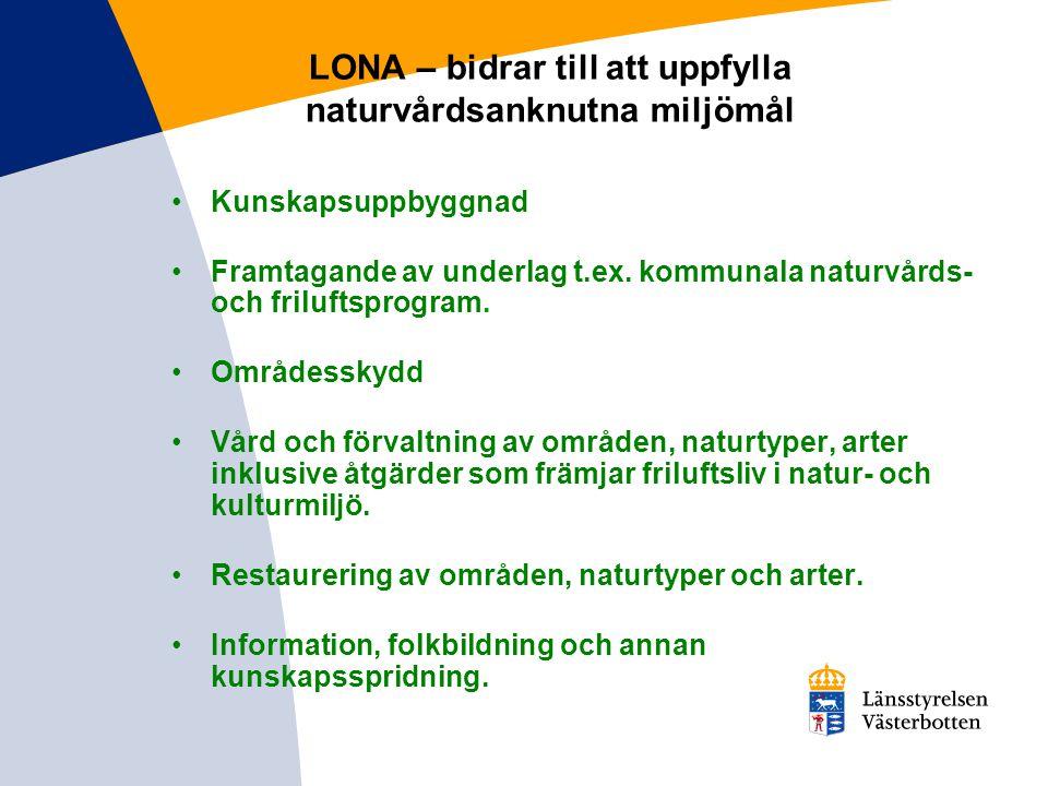 LONA – bidrar till att uppfylla naturvårdsanknutna miljömål Kunskapsuppbyggnad Framtagande av underlag t.ex. kommunala naturvårds- och friluftsprogram