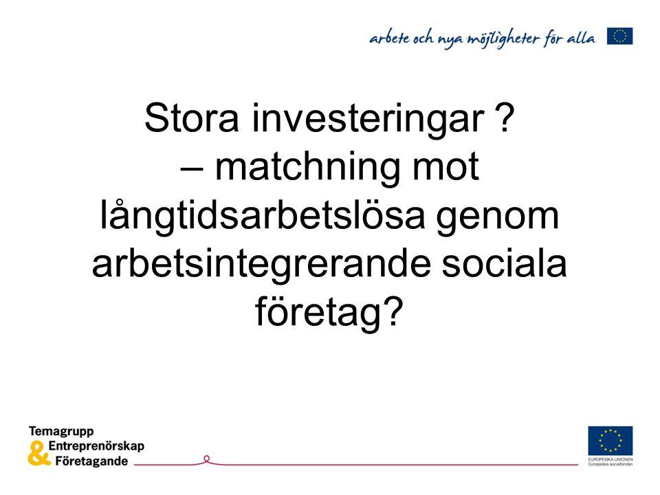 Stora investeringar – matchning mot långtidsarbetslösa genom arbetsintegrerande sociala företag