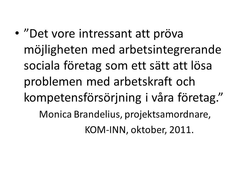 Det vore intressant att pröva möjligheten med arbetsintegrerande sociala företag som ett sätt att lösa problemen med arbetskraft och kompetensförsörjning i våra företag. Monica Brandelius, projektsamordnare, KOM-INN, oktober, 2011.