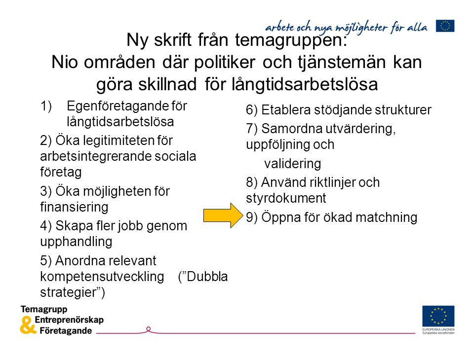 Ny skrift från temagruppen: Nio områden där politiker och tjänstemän kan göra skillnad för långtidsarbetslösa 1)Egenföretagande för långtidsarbetslösa